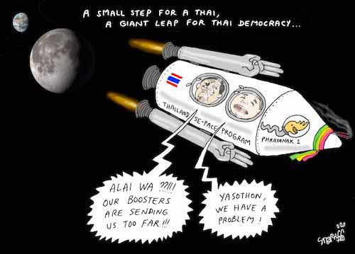 THAÏLANDE – DESSIN DE LA SEMAINE: De la terre à la lune, en version Stephff